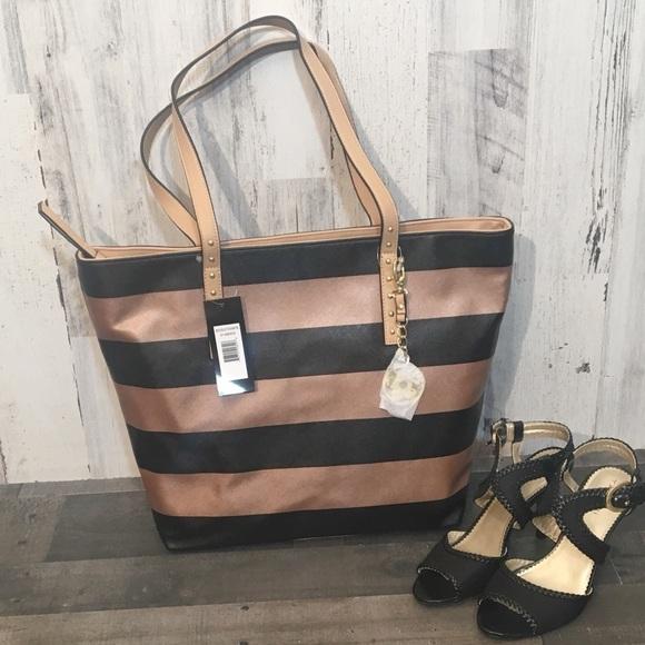 dd3170abf866 Metallic Striped Zip Top Tote Bag Boutique